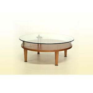 Tavolino Bacheca Da Salotto Rotondo Vetro E Legno Ebay
