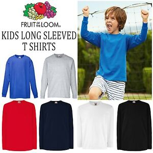 bc9f3fd7 Fruit of the Loom Childrens Long Sleeved T Shirt All Sizes Kids Tee ...