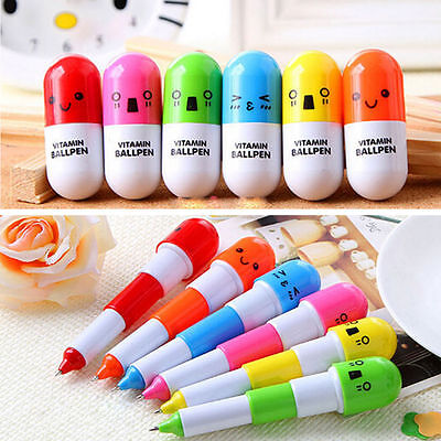 New 2pcs Retractable Lovely Capsule Ball Point Pen Telescopic Stationery Kids FS