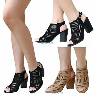076c1fdd7c94 New Women Tcon Black Tan Cut Out Open Toe Chunky High Heel Slingback ...