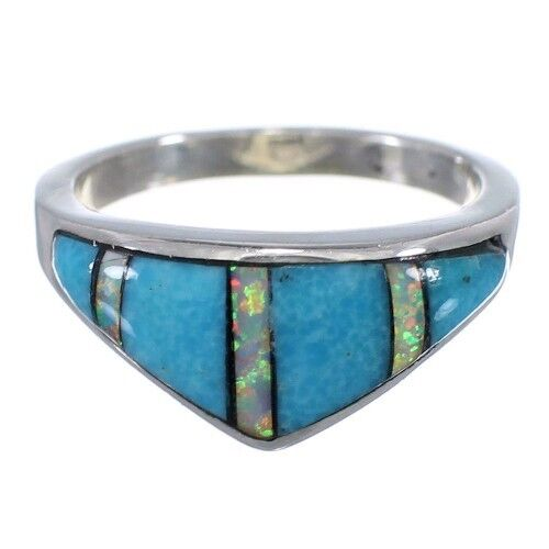 Sterling Silver Turquoise Opal Inlay Ring Size 5-3//4 Jewelry NS44918