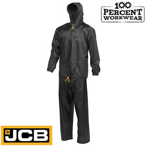 JCB-Black-Waterproof-Rain-Suit-Jacket-with-Hood-Trousers-PVC-Coated-Polyester