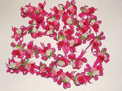 N°25 LOT de 3 Appliques Noeuds ** 30 x 40 mm ** CARREAU VICHY FLEUR ROSE SATIN