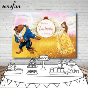 Princess-Beauty-And-The-Beast-Birthday-Party-Photography-Backdrop-Custom-Name