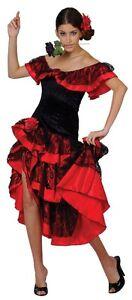SPAGNOLO-Senorita-ballerino-di-flamenco-Spagna-Donna-Costume-S-a-XL