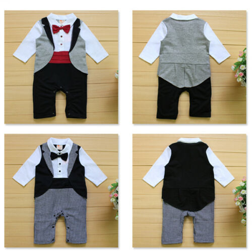 Baby Boy Tuxedo Bodysuit Outfit Bow Tie Christening Wedding 6 months 2 years
