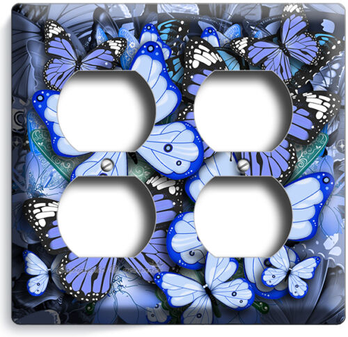BLUE BUTTERFLIES THEME LIGHT SWITCH OUTLET WALL PLATE BEDROOM ROOM HOME NY DECOR
