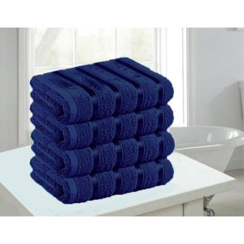 4 pc en Coton Égyptien Serviettes Set 500 Gsm De Luxe Satin à rayures serviettes salle de bain