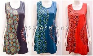 FUNKY-BOHO-PATCHWORK-ABSTRACT-FLORAL-STITCH-SLEEVELESS-TUNIC-DRESS-SIZE-14-16