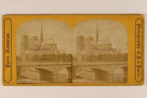Parigi Cattedrale Notre-Dame c1865 Francia Foto C.P.Stereo Vintage Albumina