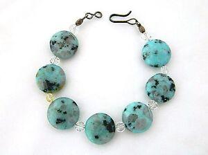 Vintage-Boho-Chic-Kiwi-Sesame-Jasper-Stone-Beaded-Bracelet-Light-Blue-Green-7-5
