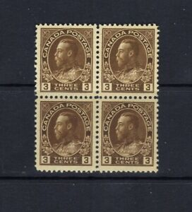 CANADA - 1922 - 3c KING GEORGE V ADMIRAL BLOCK OF FOUR - SCOTT 108 - MLH