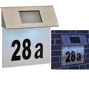 4x-LED-in-acciaio-inox-SOLAR-POWERED-Casa-Porta-Numero-all-039-aperto-PIASTRA-A-PARETE-LUCE