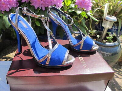 New Kurt Geiger Cobalt Blue Suede Leather Sandals Silver Front Cross Straps Uk6 Women's Shoes
