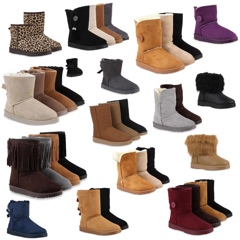Schlupfstiefel Damen Schleifen Stiefeletten Warm Gefüttert 813072 Schuhe