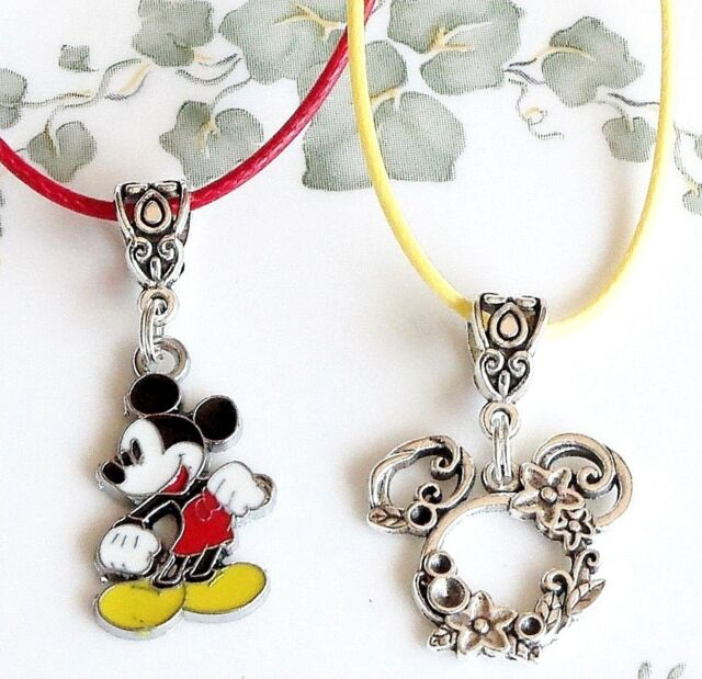 a3b61dbff Minnie or Mickey Mouse European dangle Necklace red or yellow cord Disney