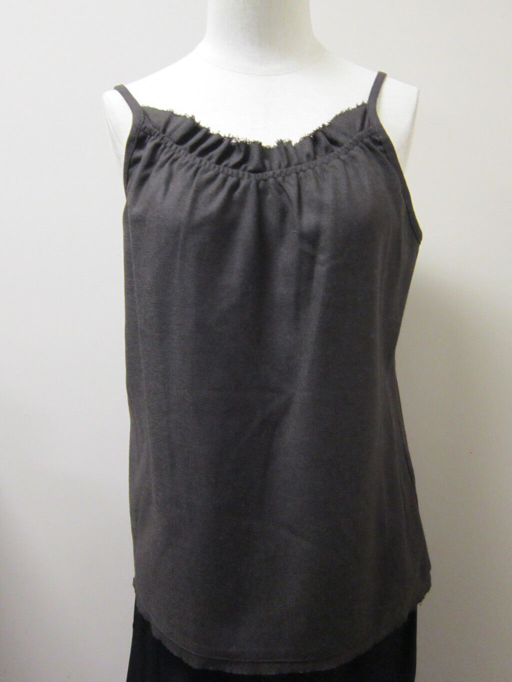EILEEN FISHER Polished Flannel V-Neck Cami with shirring Tank CHOCOLATE NWT