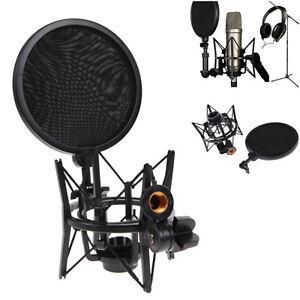 Microphone-Mic-Shock-Mount-Holder-Audio-Stand-Integrated-Pop-Filter-Pro-Studio