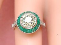 ART DECO 1.88ct OLD MINE YELLOW DIAMOND SOLITAIRE EMERALD HALO ENGAGEMENT RING