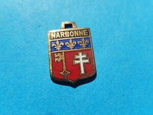 Medaille pendentif BLASON VINTAGE ARMOIRIE VILLE EMAILLE  NARBONNE CROIX  THFR