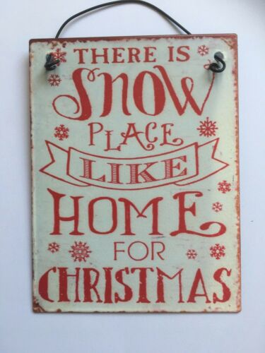 """Christmas hanging sign /""""there is Snow place like home/"""" 8 x 10 CM"""