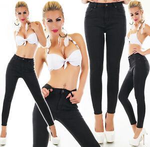 Jeans-donna-nero-pantaloni-skinny-vita-alta-sigaretta-elasticizzati-nuovi