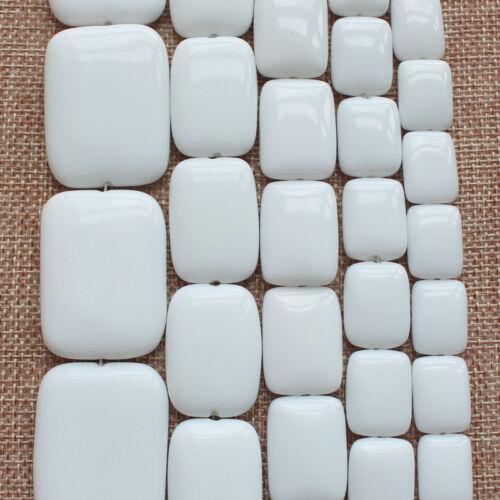 "30x40mm Blanc Lisse porcelaine agates Carré Rectangle Loose Beads 15/"" 12x16mm"