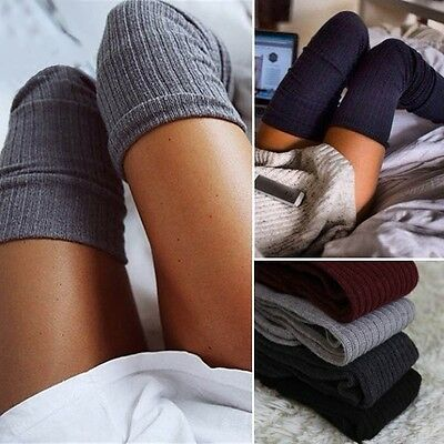 Women Winter Cable Knit Over knee Long Boot Thigh-High Warm Socks Leggings UKK