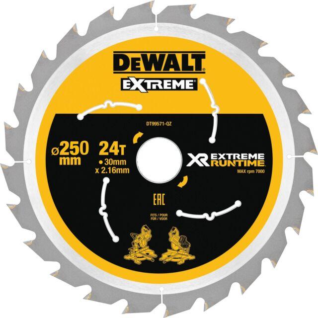 DeWALT DT 99571 Kreissägeblatt 250mm//30mm 24 Zähne XRFlexVolt für DCS777 DCS778