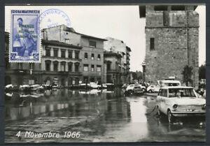 Italia-1966-Cartolina-Maximum-100-Firenze-Alluvione-Porta-a-Prato