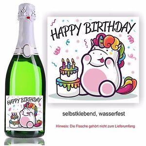 Aufkleber Sektflasche Geschenk Bild Einhorn Geburtstag Happy