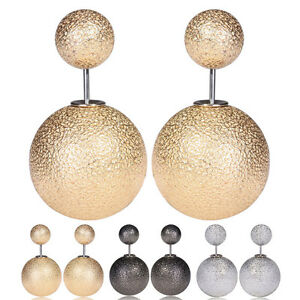 Elegant-Double-Beads-Ball-Sided-Ear-Studs-Earrings-Metallic-Front-and-Back-Acces