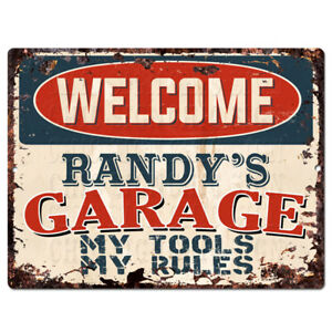 PPWG0078-WELCOME-RANDY-039-S-GARAGE-Chic-Sign-man-cave-decor-Funny-Gift