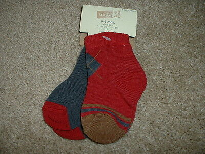 Crazy 8 Red Brown Argyle Socks 2pk Size 0-6 months 0-3 3-6 mos NEW Baby Boys NWT