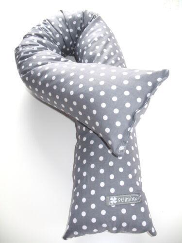 ♥ Bettschlange Bettrolle Lagerungskissen Nestchen  ♥ Grau mit weißen Punkten ♥