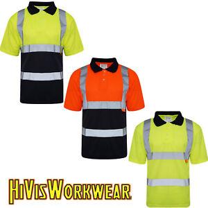 Hi-Vis-Viz-Polo-T-Shirt-Alta-Visibilita-Sicurezza-Nastro-Riflettente-Sicurezza-lavoro-Top