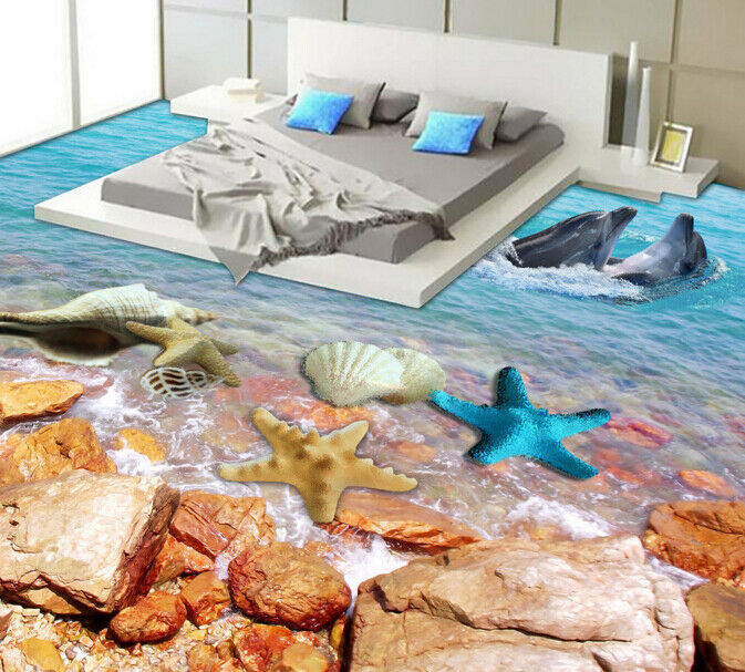 3D Stone Dolphin Sea 46 Floor WallPaper Murals Wall Print Decal AJ WALLPAPER US