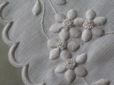 Vtg Antique Gorgeous Padded Satin Stitch White Embroidered Round Doily