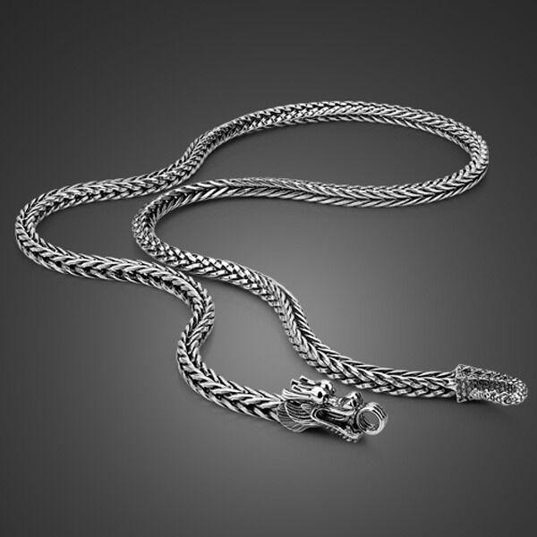 "Genuine Solid Sterling Silver Thai Silver Dragon Chain Men's Necklace 24"" PN352"