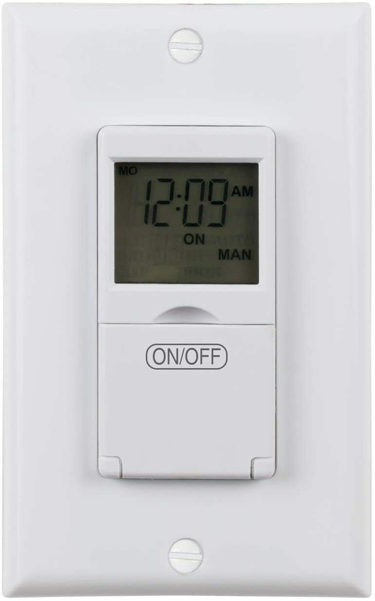 BN-LINK 7 Day Programmable In-Wall Timer Switch Digital for Fans, Lights, Motors