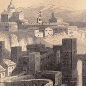 Gravure XIXe Tolède Toledo Tulaytulah Castille La Manche España 1848