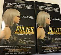 (2)primer Pulver Loquay Con Queratina Azul Polvo (pack Of 2) 1.75 Oz Blue Hair