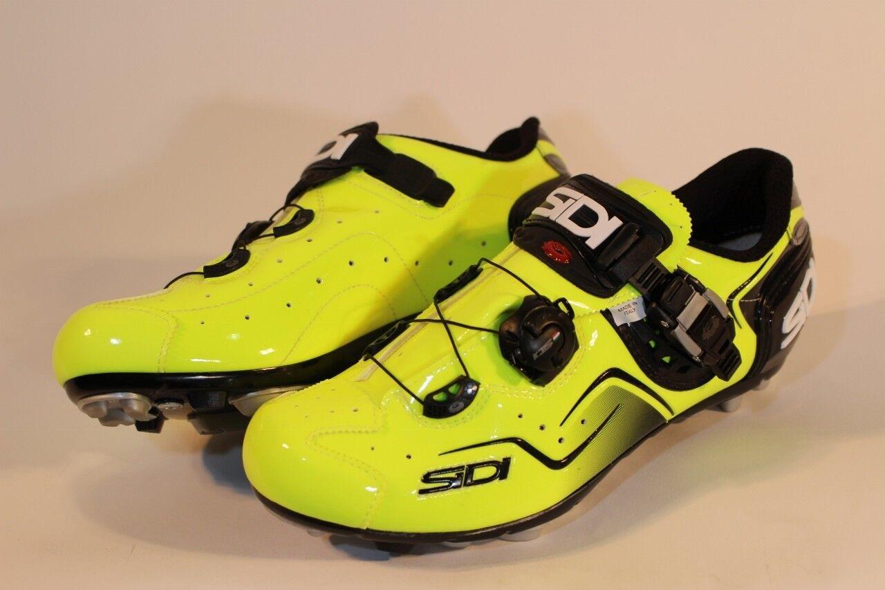 NEW SIDI Cape MTB Mountain Bike Mens Yellow Fluo Bike Bicycle Cycling shoes 8.25