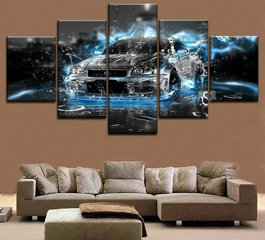 Magic Luxury grau Car in Ice Water Art 5 pieces Canvas Wall Poster Home Decor