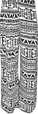 Nouveaux Femmes Grande Taille imprimé aztèque à jambe large pantalon de Palazzo