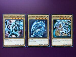 YUGIOH Blue-Eyes White Dragon 3X Card Common LOB ARTWORK PLAYSET LDK2 LEGENDARY