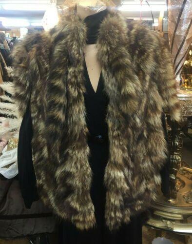 Antique Vintage Raccoon Fur Vest with Tails Workwe