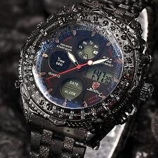 SHARK Mens LCD Digital Stainless Steel Quartz Stylish Date Wrist Sport Watch+Box