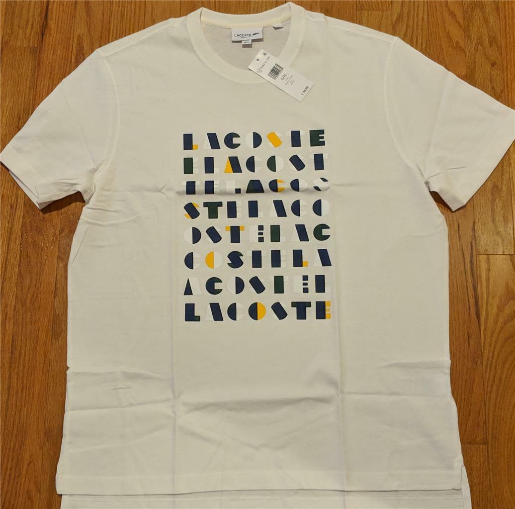 Herren Authentic Lacoste Letters Graphic Cotton T-Shirt Flour 6 (XL) 70
