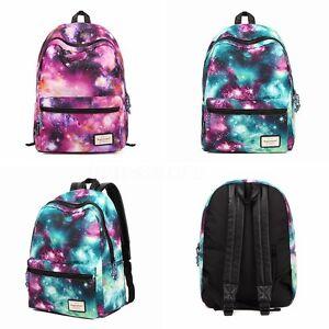 Women Galaxy Stars Universe Backpack School Shoulder Bag Bookbag Travel Rucksack